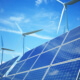 Renewable power: solar panels, wind turbines